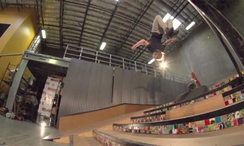 Skateboarder Adam Miller nails first skateboard to skateboard gainer backflip - video